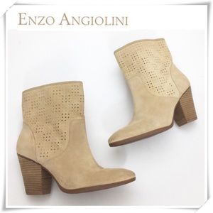 Enzo Angiolini Gettup Laser-Cut Suede Ankle Boot
